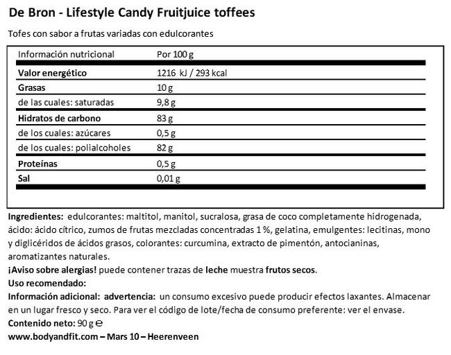 Fruitjuice Toffees (Sin Azúcar) Nutritional Information 1