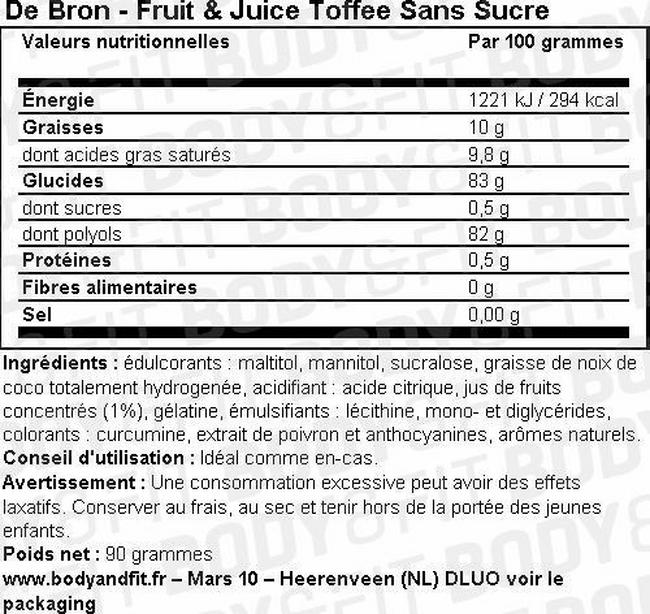 Fruit & Juice Toffee Sans Sucre Nutritional Information 1
