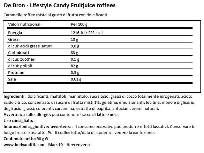 Fruitjuice Toffee Senza Zucchero Nutritional Information 1