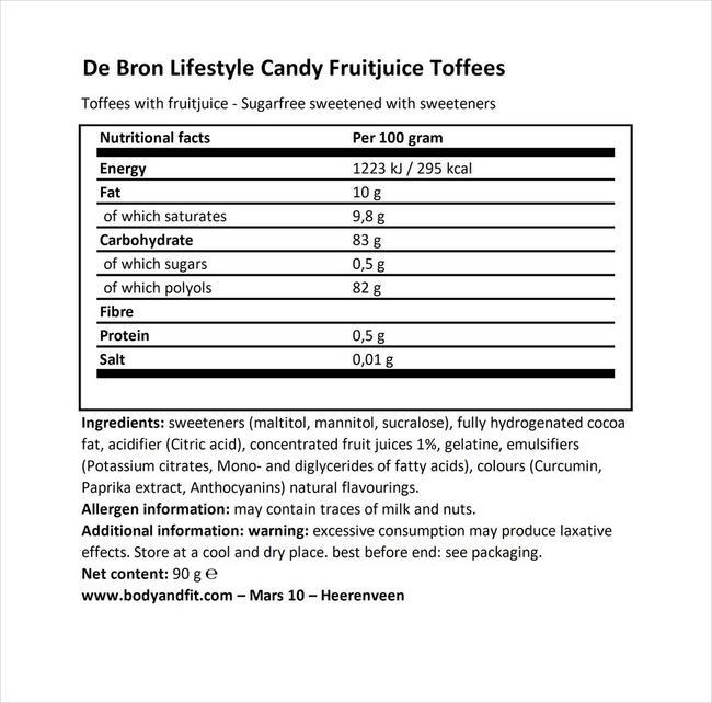 シュガーフリー フルーツジューストフィー Nutritional Information 1