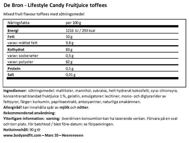 Sockerfri Fruit & Juice Toffee Nutritional Information 1