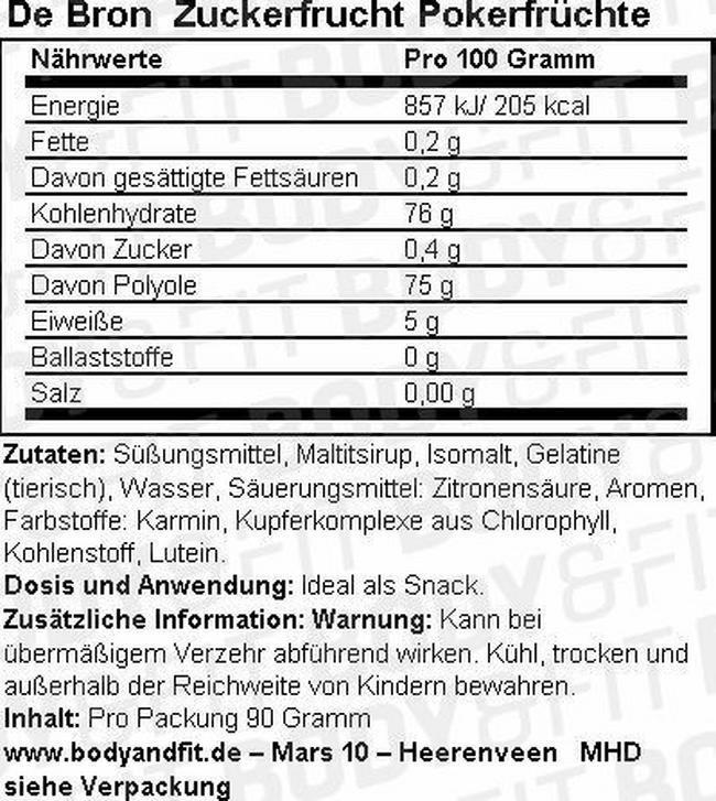 Zuckerfreie Pokerfrüchte Nutritional Information 1