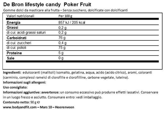 Sugar-free Pokerfruit Nutritional Information 1