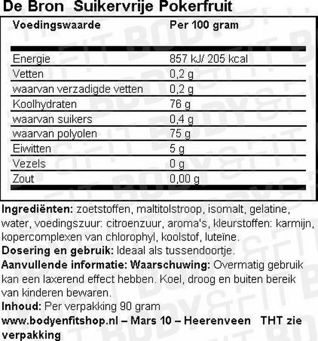 Suikervrije Pokerfruit Nutritional Information 1