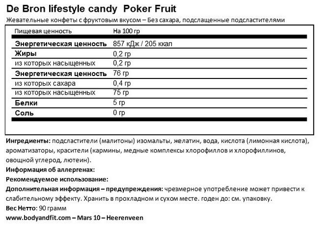 Sugar-free Pokerfruit Nutritional Information 1