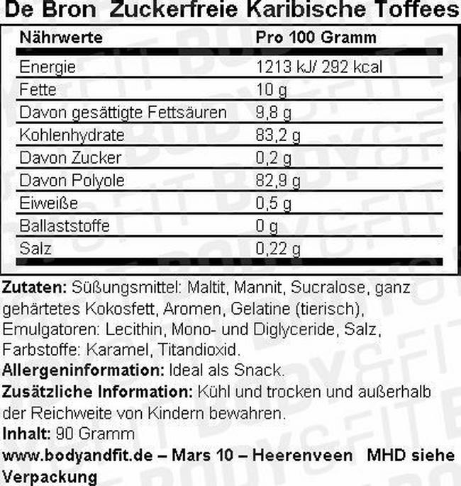 Zuckerfreie karibische Toffeemischung Nutritional Information 1