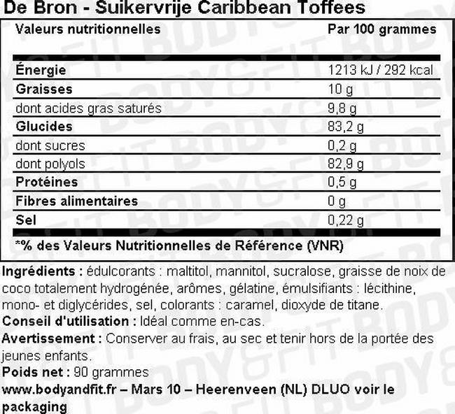 Caramels sans sucre Sugar-free Caribbean Toffees Nutritional Information 1
