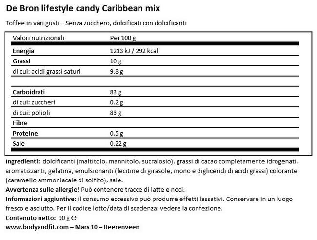 Caribbean Toffees Senza Zucchero Nutritional Information 1