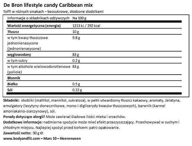 Sugar-free Caribbean Toffees Nutritional Information 1