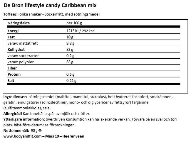 Sockerfria Carribean Toffees Nutritional Information 1