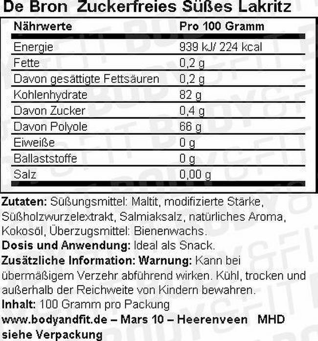 Zuckerfreies süßes Lakritz Nutritional Information 1