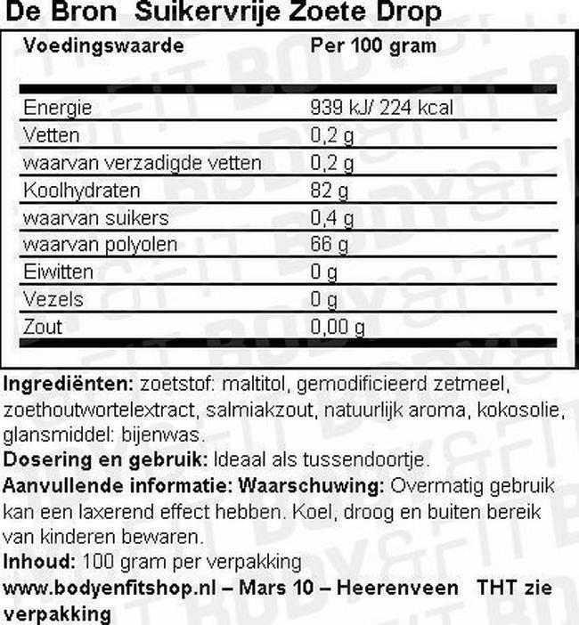 Suikervrije Zoete Drop Nutritional Information 1