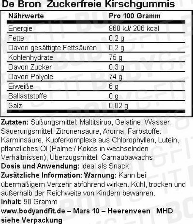 Zuckerfreie Kirschgummis Nutritional Information 1