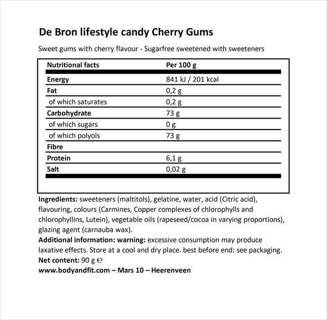 Sugar-free Cherry Gums Nutritional Information 1