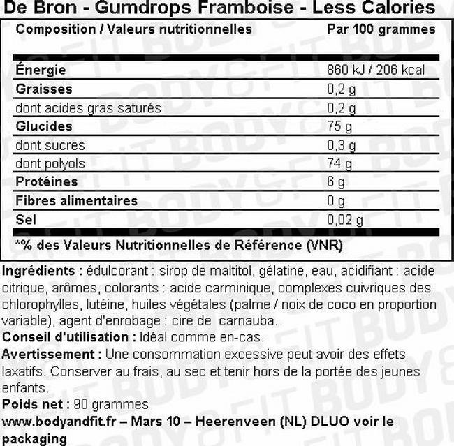 Bonbons sans sucre Cherry Gums Nutritional Information 1