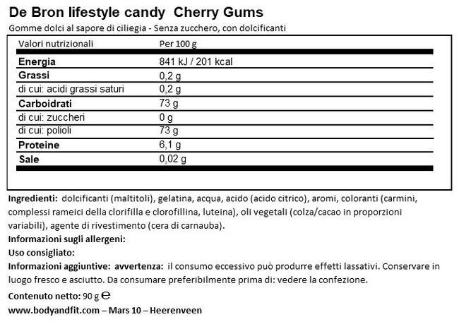Caramelle Gommose alla Ciliegia senza zucchero Nutritional Information 1