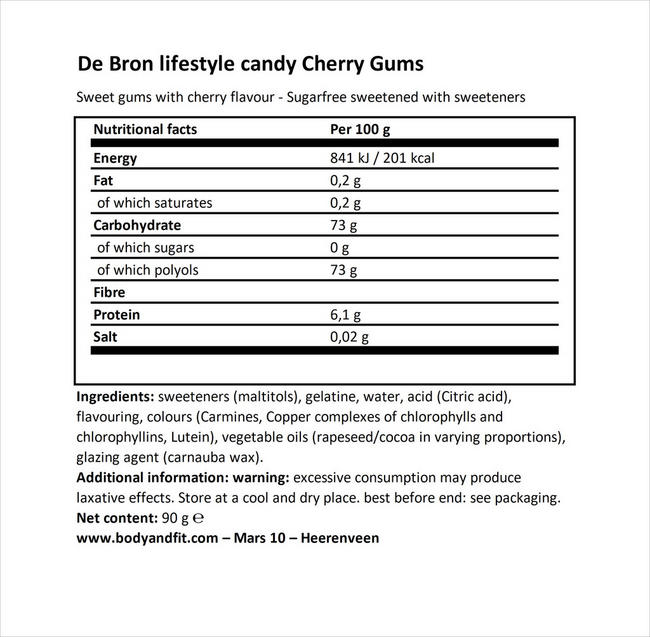 シュガーフリー チェリーガム Nutritional Information 1