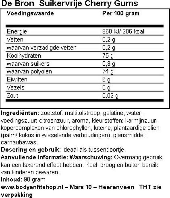 Suikervrije Cherry Gums Nutritional Information 1