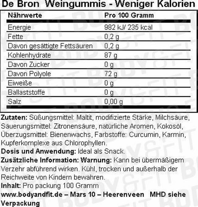 Weingummis - Less Calories Nutritional Information 2
