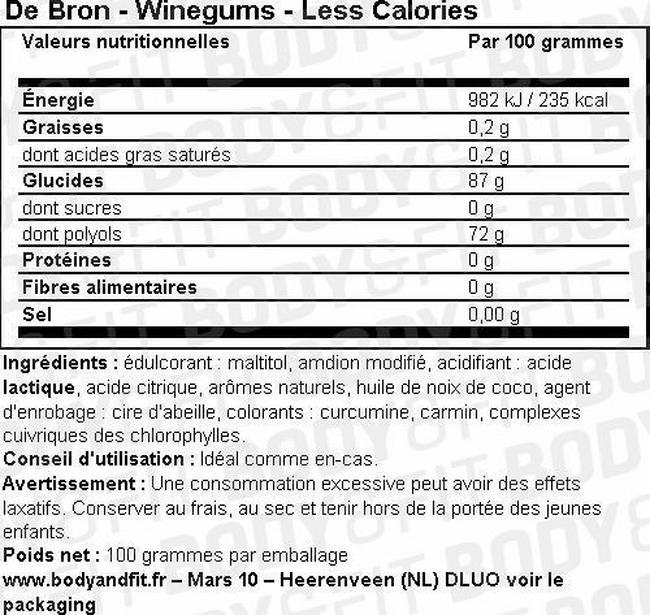 Winegums - Less Calories Nutritional Information 1