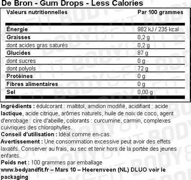 Winegums - Less Calories Nutritional Information 2