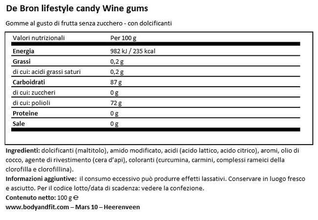 Wine Gums – Less Calories Nutritional Information 1