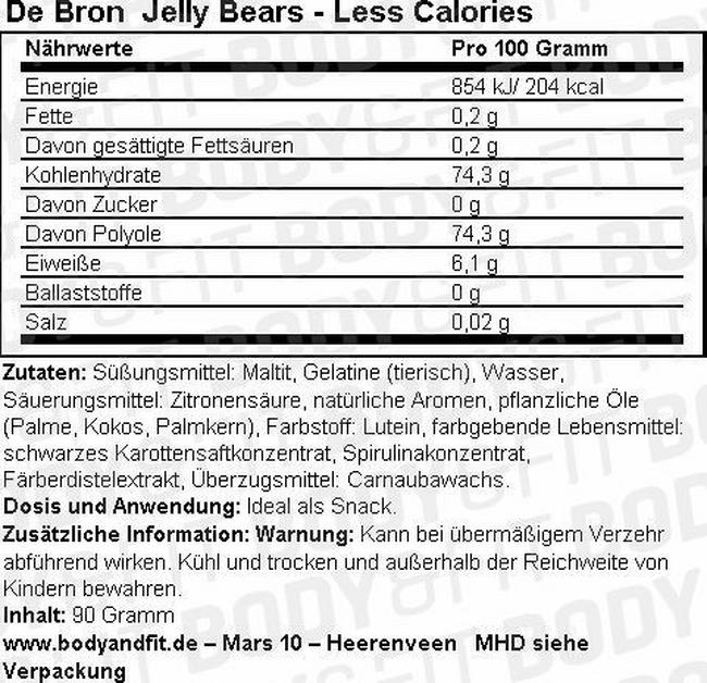 Jelly Bears - Less Calories Nutritional Information 1