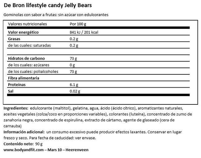 Jelly Bears (menos calorías) Nutritional Information 1