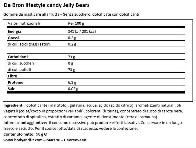 Jelly Bears – Less Calories Nutritional Information 1