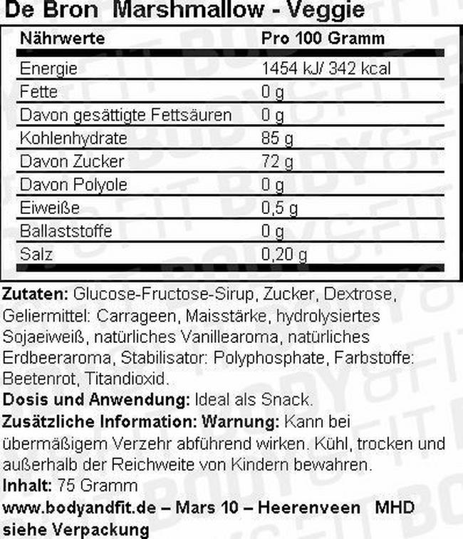Marshmallow - Veggie Nutritional Information 1
