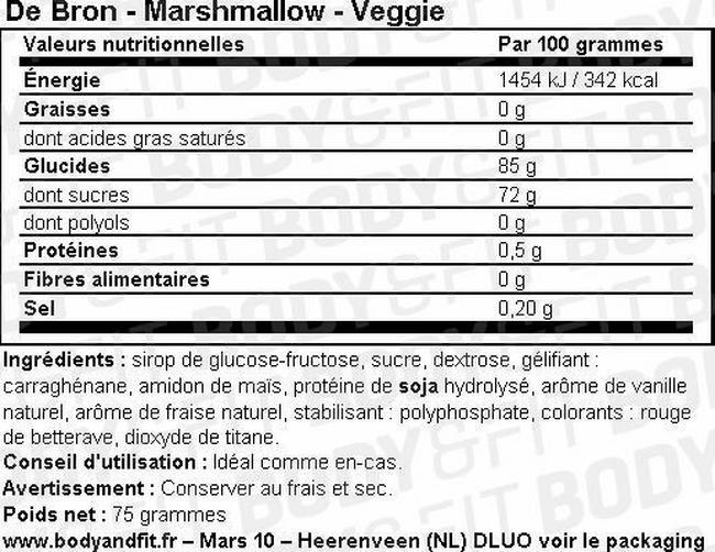 Guimauves végétariennes Marshmallows – Veggie Nutritional Information 1
