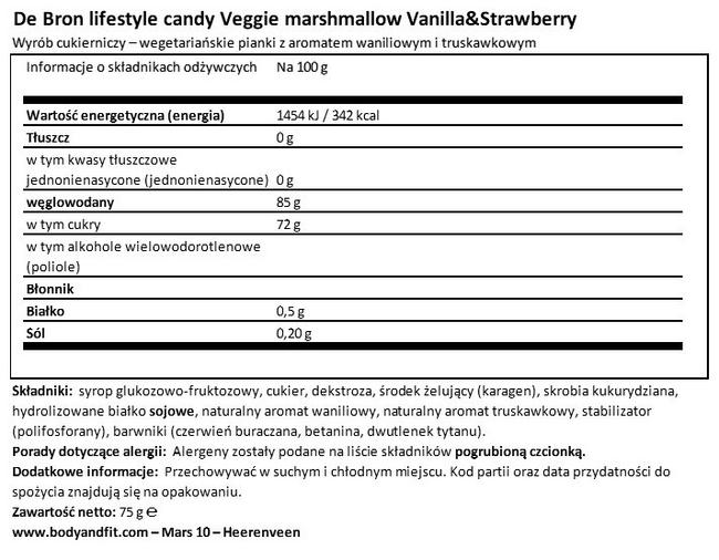 Marshmallows — Veggie Nutritional Information 1