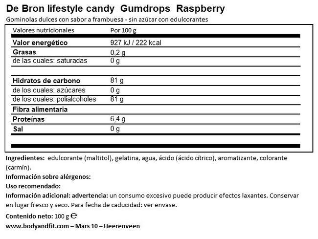 Raspberry Gumdrops Nutritional Information 1