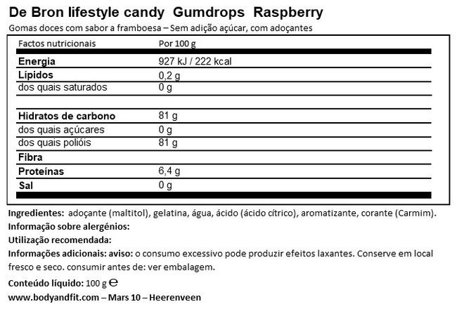 Raspberry Gumdrops Nutritional Information 1