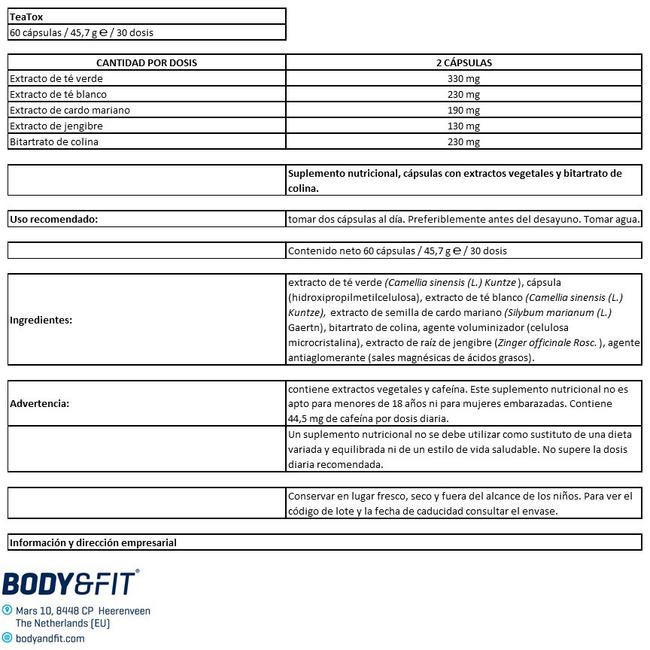 TeaTox Nutritional Information 1