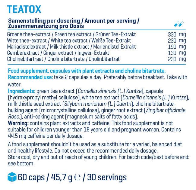 Capsules détox TeaTox Nutritional Information 1