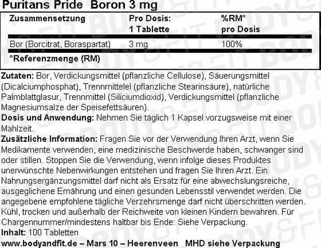 Boron 3 mg Nutritional Information 1