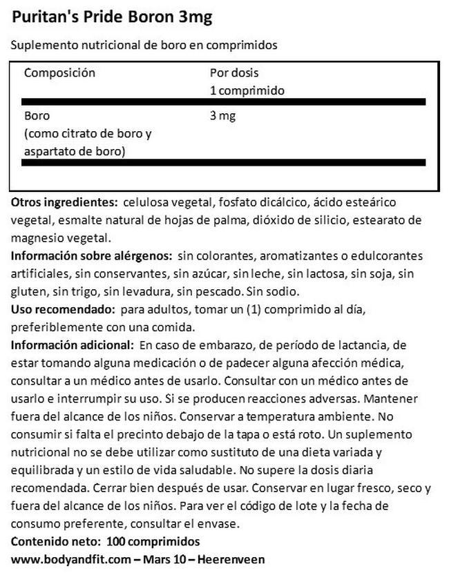 Boron 3 mg Nutritional Information 1