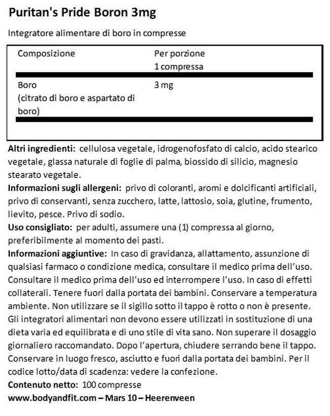 Boro 3 mg Nutritional Information 1