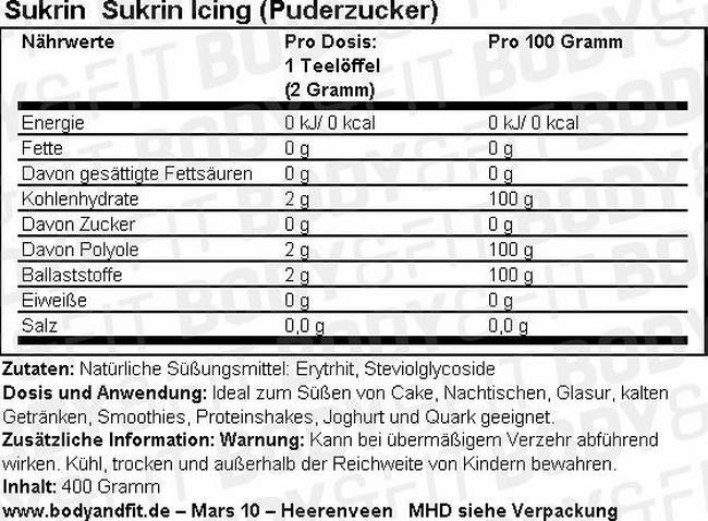 Sukrin Icing (Puderzucker) Nutritional Information 1