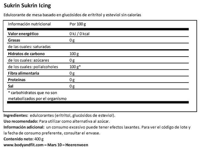 Sukrin Edulcorante de productos naturales Nutritional Information 1