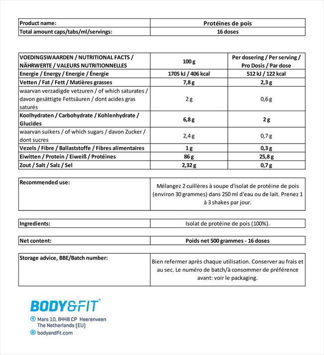 Isolat de protéine de pois Pea Protein Isolate Nutritional Information 1
