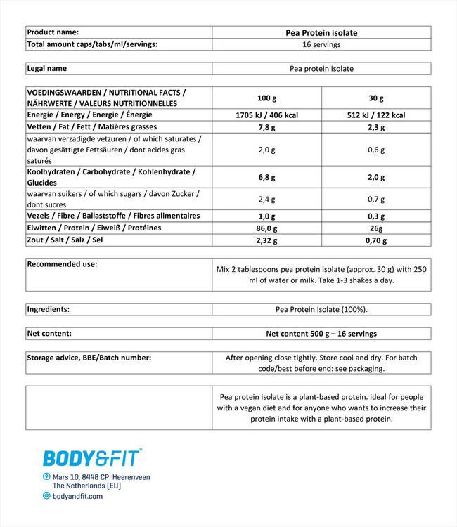 완두콩 단백질 아이솔레이트 Nutritional Information 1