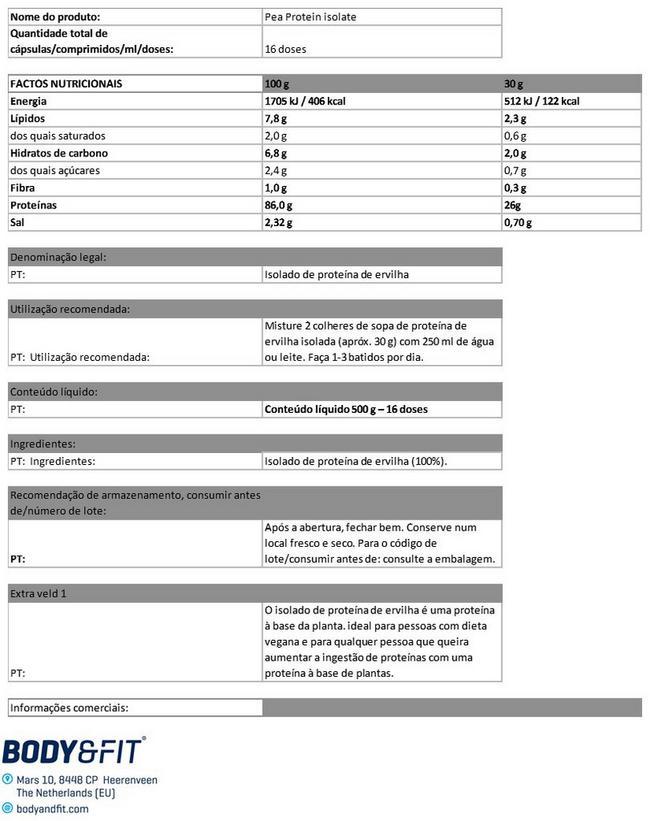 Proteína de ervilha isolada Nutritional Information 1