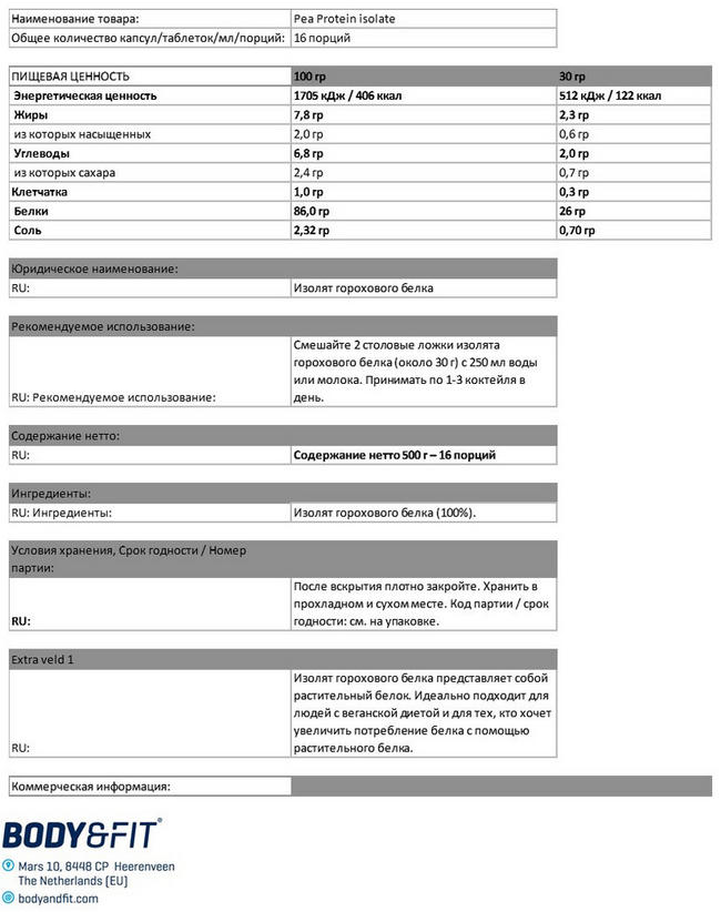 Изолят горохового белка Nutritional Information 1