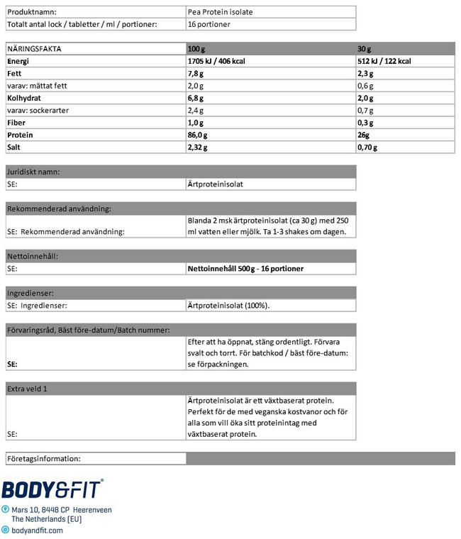 Pea Protein Isolate Nutritional Information 1