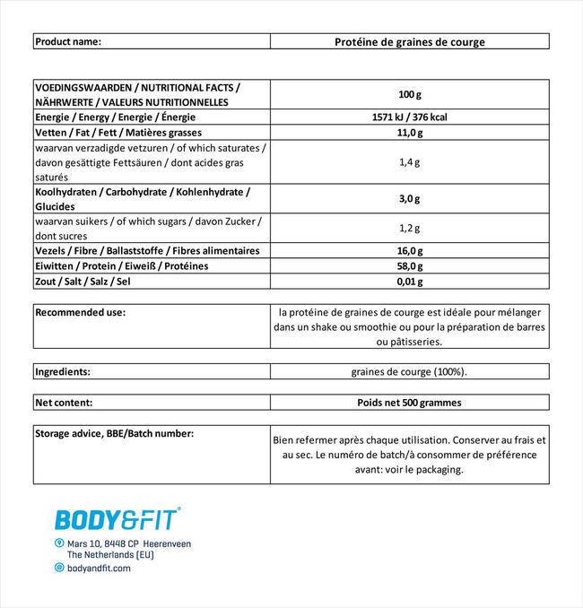 Protéine de graines de courge Nutritional Information 1