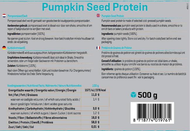 Pompoenzaden Proteïne Nutritional Information 1