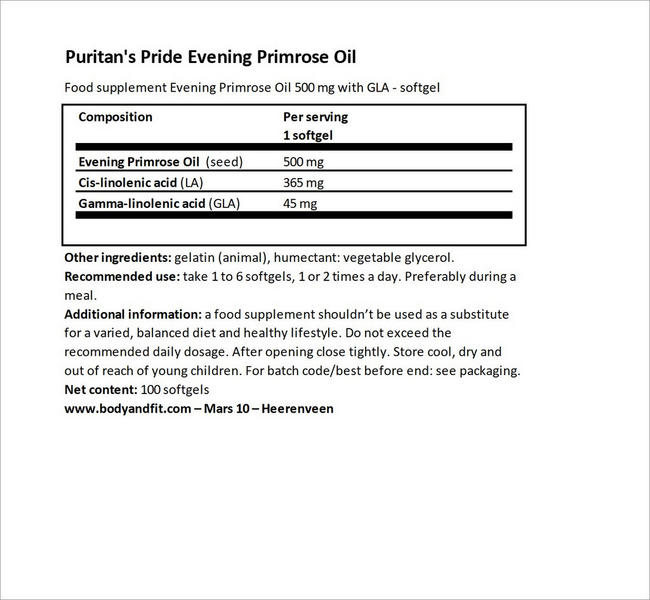 Evening Primrose Oil 500ml with GLA Nutritional Information 4