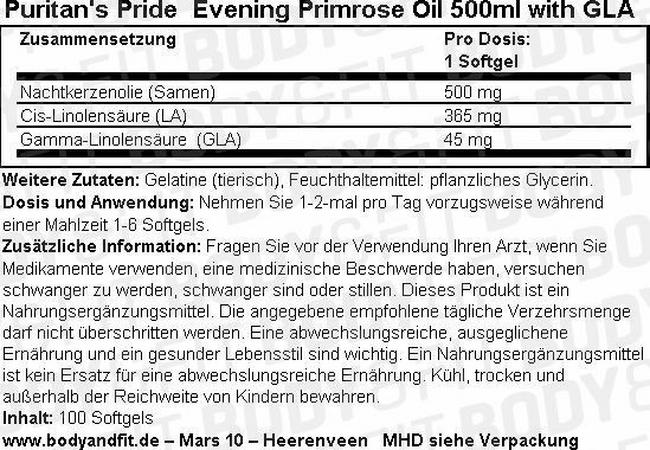 Evening Primrose Oil 500 ml with GLA Nutritional Information 1